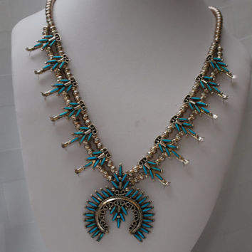 Vintage South Western Sterling Silver Turquoise Squash Blossom Necklace