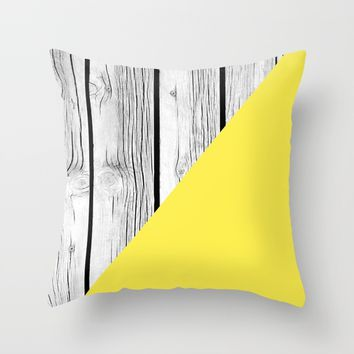 Yellow vs Wood Throw Pillow by ARTbyJWP