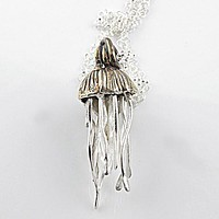 Jelly Fish - Go With The Flow Pure Fine SIlver Pendant