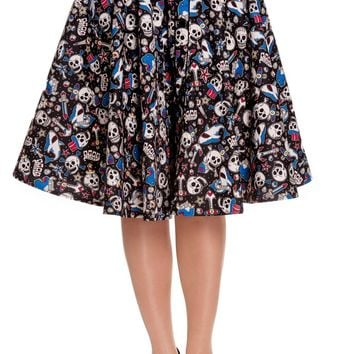 Hell Bunny Nautical Rockabilly Skull Shark & Anchor Rock on Swing Skirt