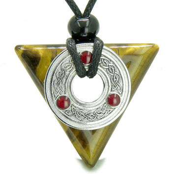 Amulet Celtic Triquetra Knot Trinity Magic Powers Triangle Tiger Eye Pendant Necklace