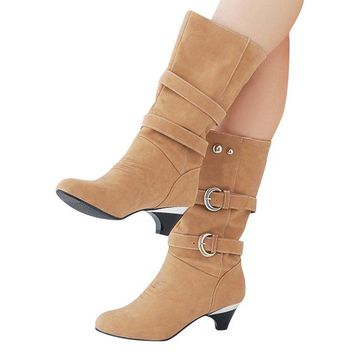 Low High Boots Autumn Buckle Mid-Calf Boots Elegant Slip On