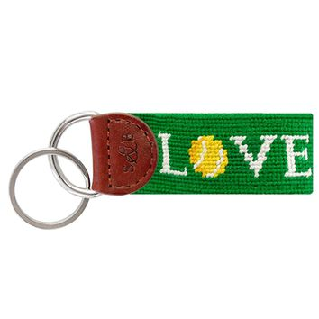 Love All Needlepoint Key Fob in Dark Kelly by Smathers & Branson