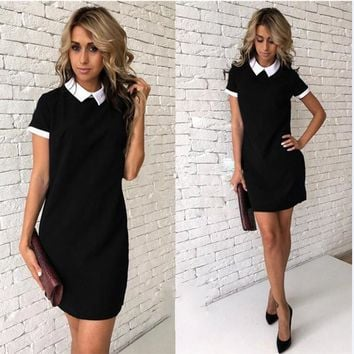 Colorblock Peter Pan Collar Mini Dresses Women Summer Breathable Chiffon Stretch Dresses A-Line Short Sleeve Casual Solid Dress