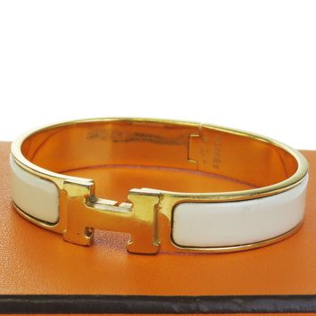 Authentic HERMES H Logo Bracelet Bangle Plastic Gold-tone WT Accessory 09EB068