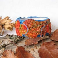 Colorful Golden Autumn bangle bracelet Yellow Orange Red Purple Gold leaf multicolor polymer clay jewelry patterns leaves bright bracelet