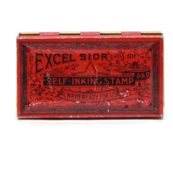 Red Metal Tin Excelsior Stamp Pad Small Decorative Metal Tin Man Cave Stuff