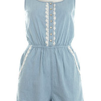 Crochet Back Denim Playsuit - Rompers - Rompers & Jumpsuits  - Apparel - Miss Selfridge US