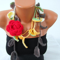 Knitted scarf necklace, flower necklace with, green multicolor and Red rose