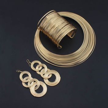 Indian Jewelry Metal Wire Chokers Necklaces Bangle Earrings Set