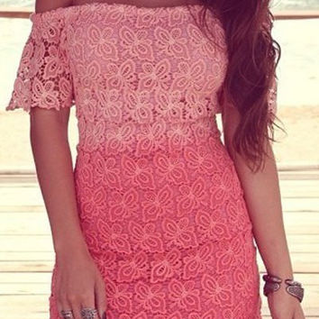 Pink Butterfly Pattern Short Sleeve Lace Dress