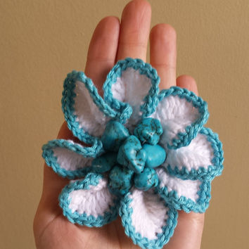 Ponytail holder crochet flower with gemstone  turquoise black glass beads hair accessories hairdo pony tie Photo shot