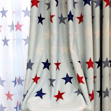 """2 x Custom Made French Country Children Kids Boy Girl Star Blockout Blackout  Window Curtain Panel 034 59""""wide x 84""""drop"""