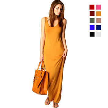 Newest Fashion Vintage Summer Women Dresses Casual Sleeveless Cotton Woman's Long Dress for Party Ladies Bohemian Beach Vestidos