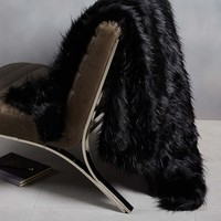 Faux Fur High-Sheen Throw - Black