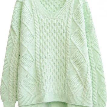 Loose Diamond and Cable Knitted Side Split Round Neck Plain Long Sleeve Sweater
