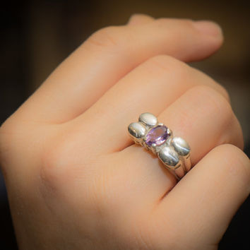 Lavender amethyst ring, Amethyst Gemstone Ring, February Birthstone, Rose De France Amethyst