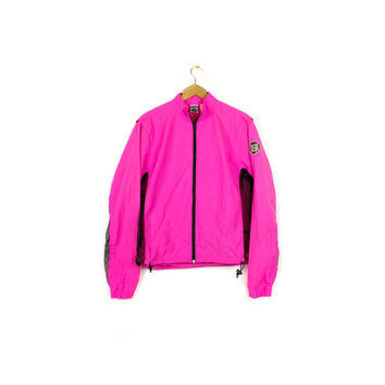 NIKE ECHELON vintage neon windbreaker jacket / 80s - 90s / hot pink / black mesh / see thru / M - L