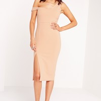 Missguided - Bardot Strap Midi Dress Nude