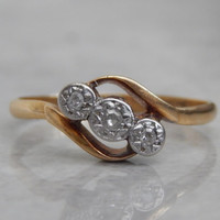 art deco engagement ring - 3 stone diamond bypass ring in 18ct gold and platinum