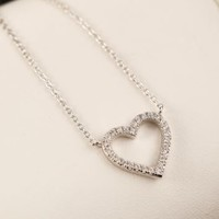 Open Hearted Rhinestone Short Chain Necklace - LilyFair Jewelry