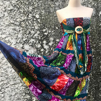 Hippie Patchwork Maxi Dress Long Skirt bohemian Festival Boho Gypsy Colorful clothing tribal Vegan style One of kind handmade gift Women