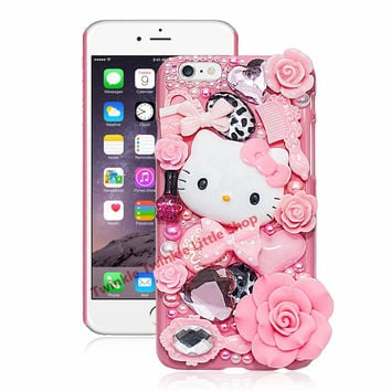 Cute Hello Kitty Crystal Pearl 3D Case For iPhone Back Cover Phone Cases For apple iphone for iphone7 plus 5 5s 5c 6s 6splus