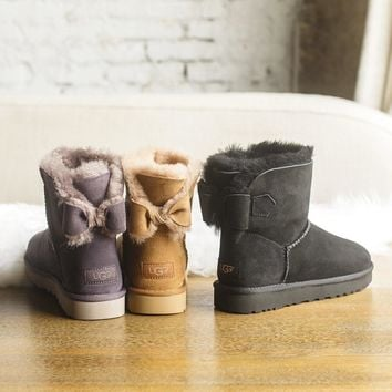 UGG NAVEAH Bow Leather Shoes Boots