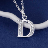 Letter D bling zirconsilver plated Necklace Silver Pendant Jewelry RNAFIHTD QGLCNNWS