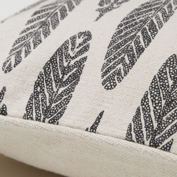 Patterned Cotton Cushion Cover - Natural white/feathers - Home All | H&M US