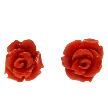 GENUINE NATURAL CARVED RED CORAL FLOWER STUD POST EARRINGS 14K YELLOW GOLD