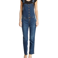 Free People Button Front Bib Overalls