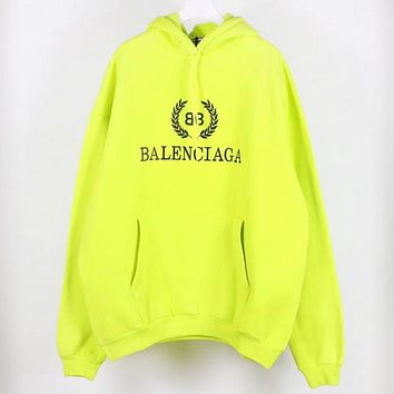 Balenciaga High quality new fashion bust letter leaf print couple hooded long sleeve sweater Fluorescent Green