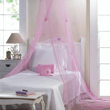 Pink Princess Royal Crown Hanging Net Bed Canopy