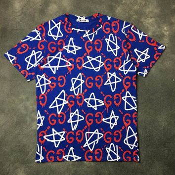 GUCCI New Fashion More Letter Men And Women Pure Cotton Short-Sleeved T-shirt Top Blue
