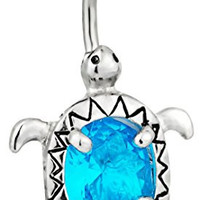 14g Surgical Steel Aqua Blue Jeweled CZ Sea Turtle Belly Button Ring