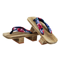 Cosplay GETA Japanese SAMURAI Clogs Wood Sandals clogs shoes flat wood heel square toe shoes