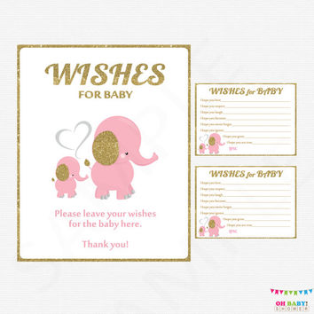 Pink Elephant Baby Shower, Pink and Gold Baby Shower, Wishes for Baby Girl Card + Sign, Printable Baby Shower Wish Cards Download EL0004-LPG