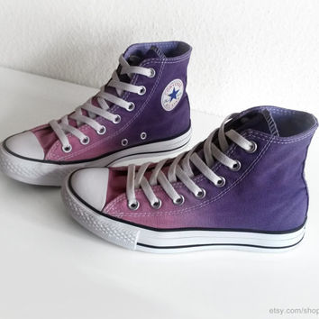 Violet & mauve ombre dip dye Converse, upcycled All Stars, transformed preloved Chucks, purple high tops, eu 36.5 (uk 4, us wo's 6, mens 4)