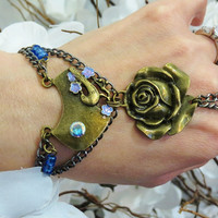 Bird Rose Slave Bracelet Ring. Mercury Mist, Bronze Chain Hand painted flowers Bracelet Ring. Beaded Floral. Sized