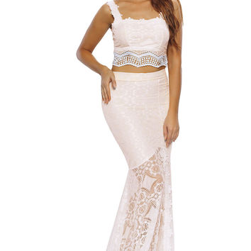 Creamy Lace Crop Top Maxi Skirt Set LAVELIQ