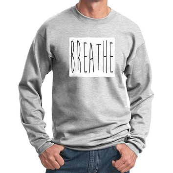 "Mens ""Breathe"" Yoga Sweat Shirt - Ash Grey"