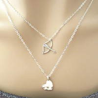 Layering necklace, heart arrow necklace, sterlingsilver necklace, modern, cute, jewelry for her, christmas necklace, new year gift jewelry