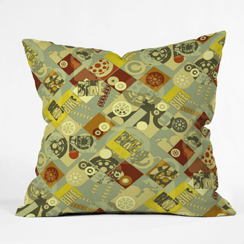 Sharon Turner Bike Retro Throw Pillow
