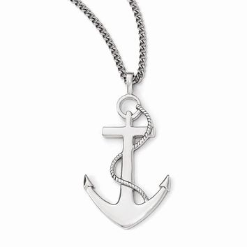 Stainless Steel Polished Anchor Mariner Cross Necklace