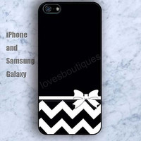 black white Chevron bow case iPhone 5/5S case Ipod Silicone plastic Phone cover Waterproof