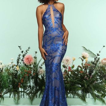 Zoey Grey - 31248 Sequined Halter Fitted Evening Dress