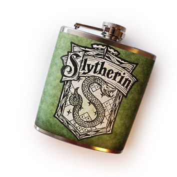 Slytherin House Crest Flask Harry Potter Inspired Customizable
