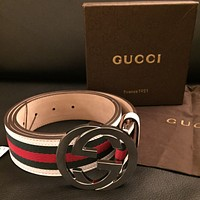 Free Shipping Authentic Gucci Green Red White Belt