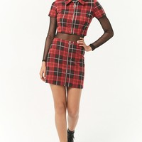 Zippered Plaid Mini Skirt